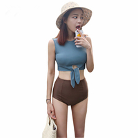 2017 Trending High Waist Bikini Swimsuit Women Swimwear Padded Sexy Crop Top Retro Bathing Suit Vintage