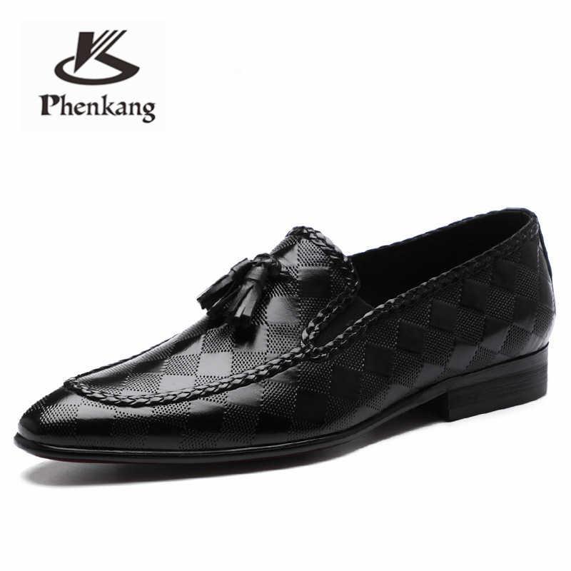Zapatos de cuero para hombre, zapatos de vestir de negocios, zapatos de hombre, marca Bullock, de cuero genuino, negro, borla, zapatos de boda para hombre