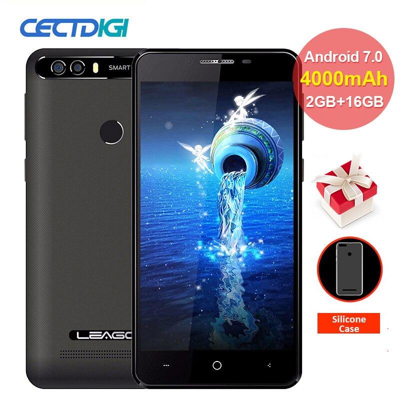 LEAGOO KIICAA POWER Android 7.0 Mobile Phone Dual Real Cameras 5.0inch MT6580 Quad Core 2GB RAM 16GB ROM Fingerprint Smartphone