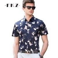 FKZNew Printed Men Casual T Shirts Vogue Short Sleeve Turn Collar Slim Fit Basic Tees Tailoring