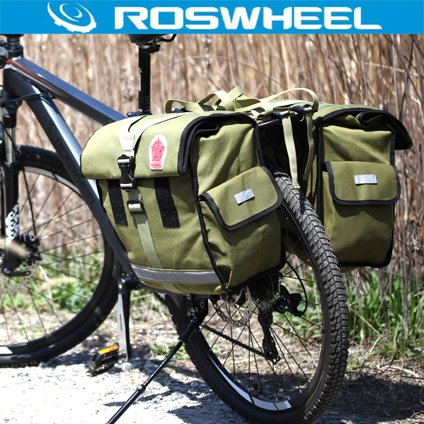 ROSWHEEL 50L Bicycle Waterproof Bag Retro Canvas Bike Carrier Bag Cycling Double Side Rear Rack Tail Seat Trunk Pannier Two Bags roswheel mtb bike bag 10l full waterproof bicycle saddle bag mountain bike rear seat bag cycling tail bag bicycle accessories