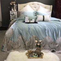 Light blue Luxury Italian Style Exquisite Lace Embroidery 100S Silk Cotton Fabric Bedding Set Duvet Cover Bed sheet Pillowcases
