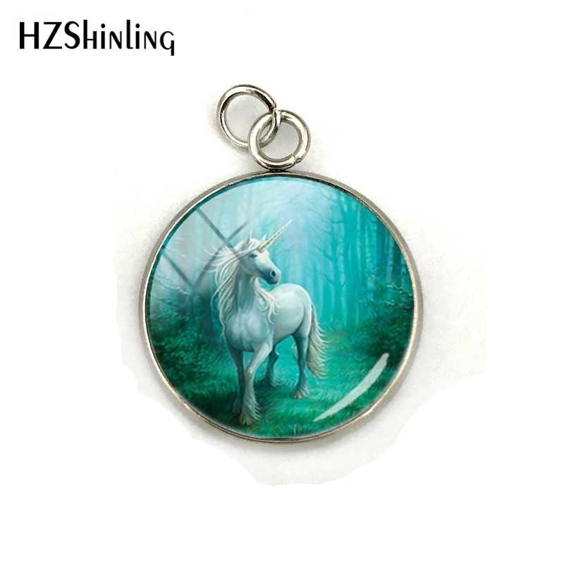 New Arrival Fashion Glass Dome Round Pendant Horse Unicorn Animal Handmade Stainless Steel Plated Charm Jewelry Accessories