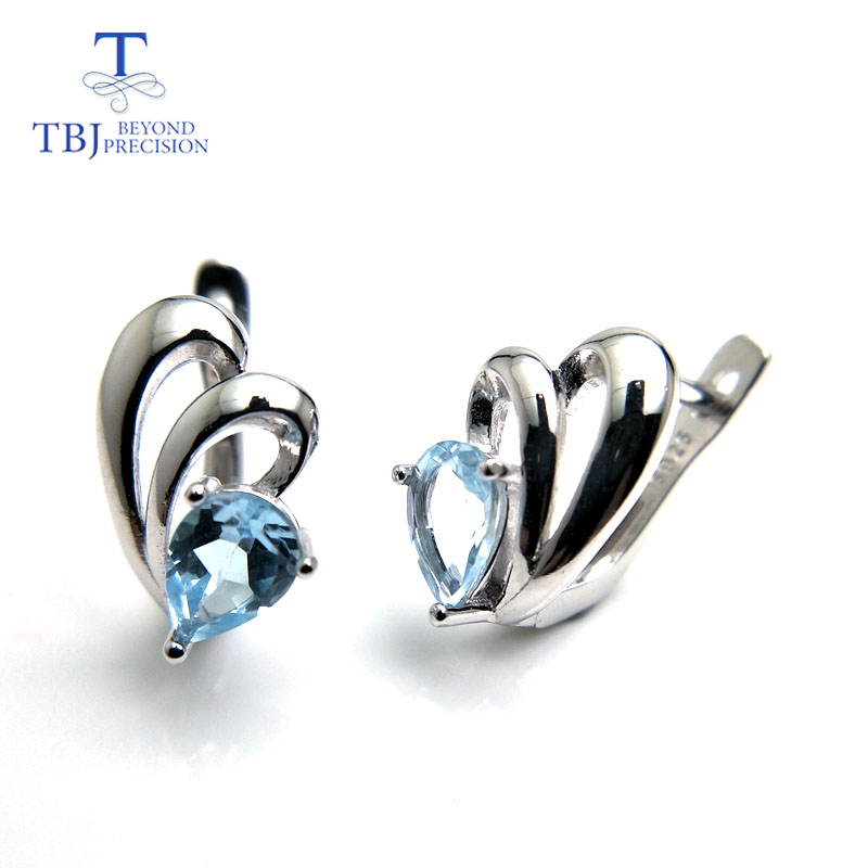 TBJ Cute small simple earring with natural sky blue topaz gemstone in 925 sterling silver fine