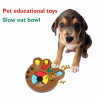 Wooden Paw Shape Pet Dog Cat IQ Training Toys Educational Feeding Game Plate Juguetes Para Perros
