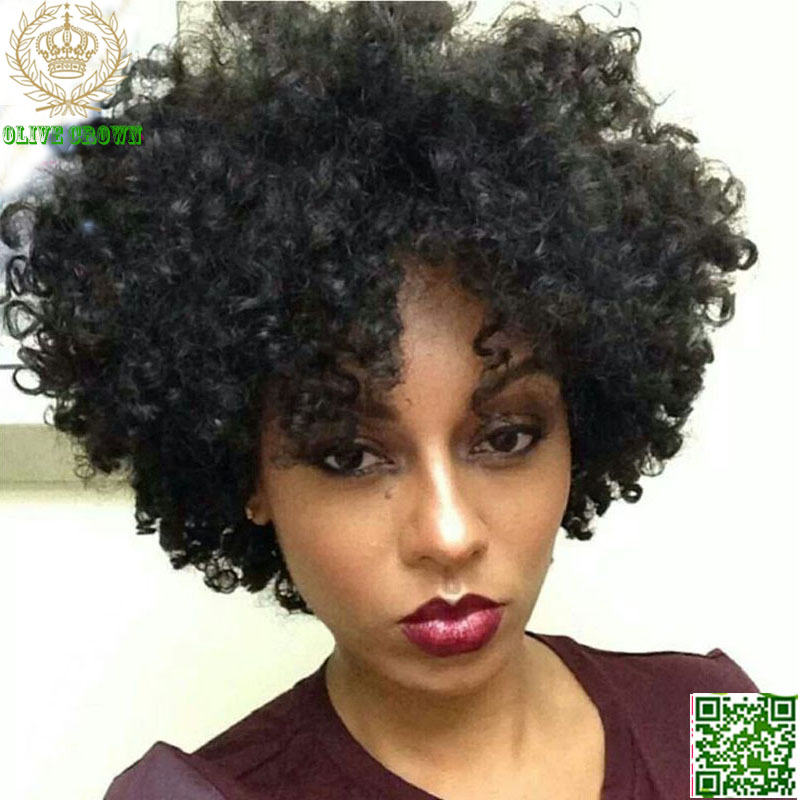 Short Afro Kinky Curly Lace Front Wigs Brazilian Virgin ...