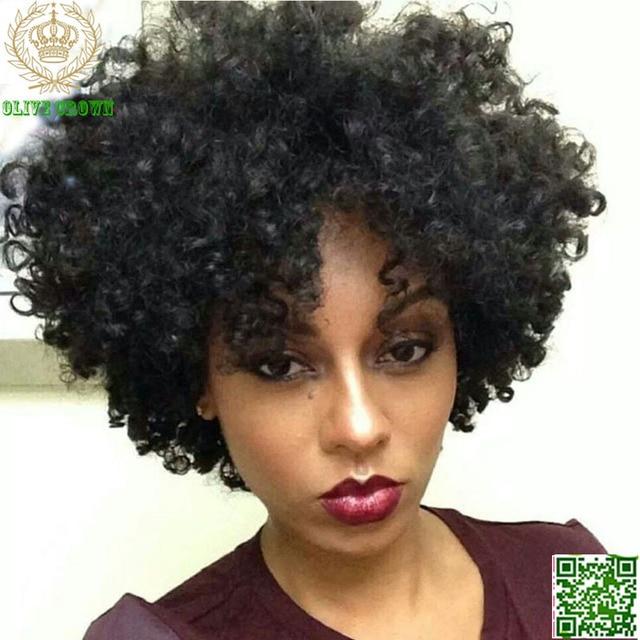 Short Afro Kinky Curly Lace Front Wigs Brazilian Virgin ...