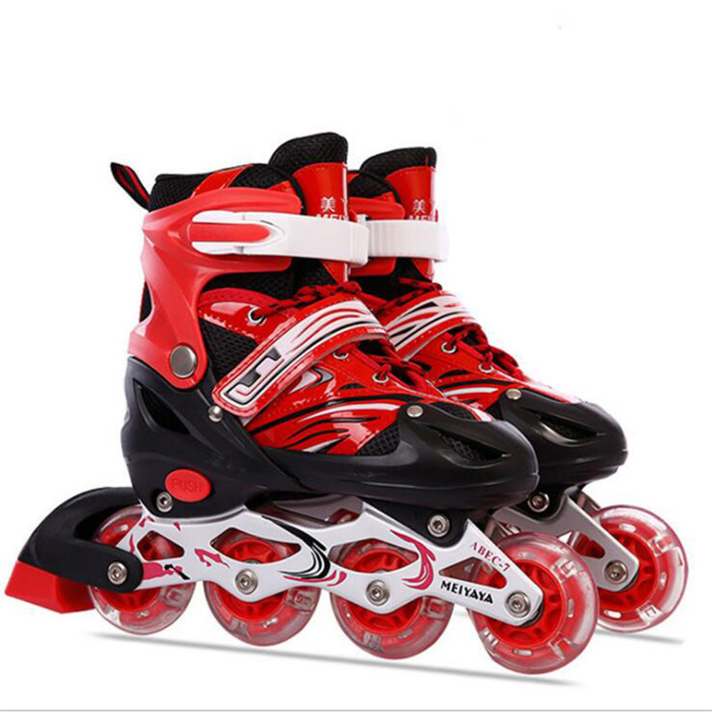 Flash Adjustable Inline Skates Shoes for Kids Children Roller Skating Shoes 8pcs Flashing Lighted PU Wheels Free Skating Patines