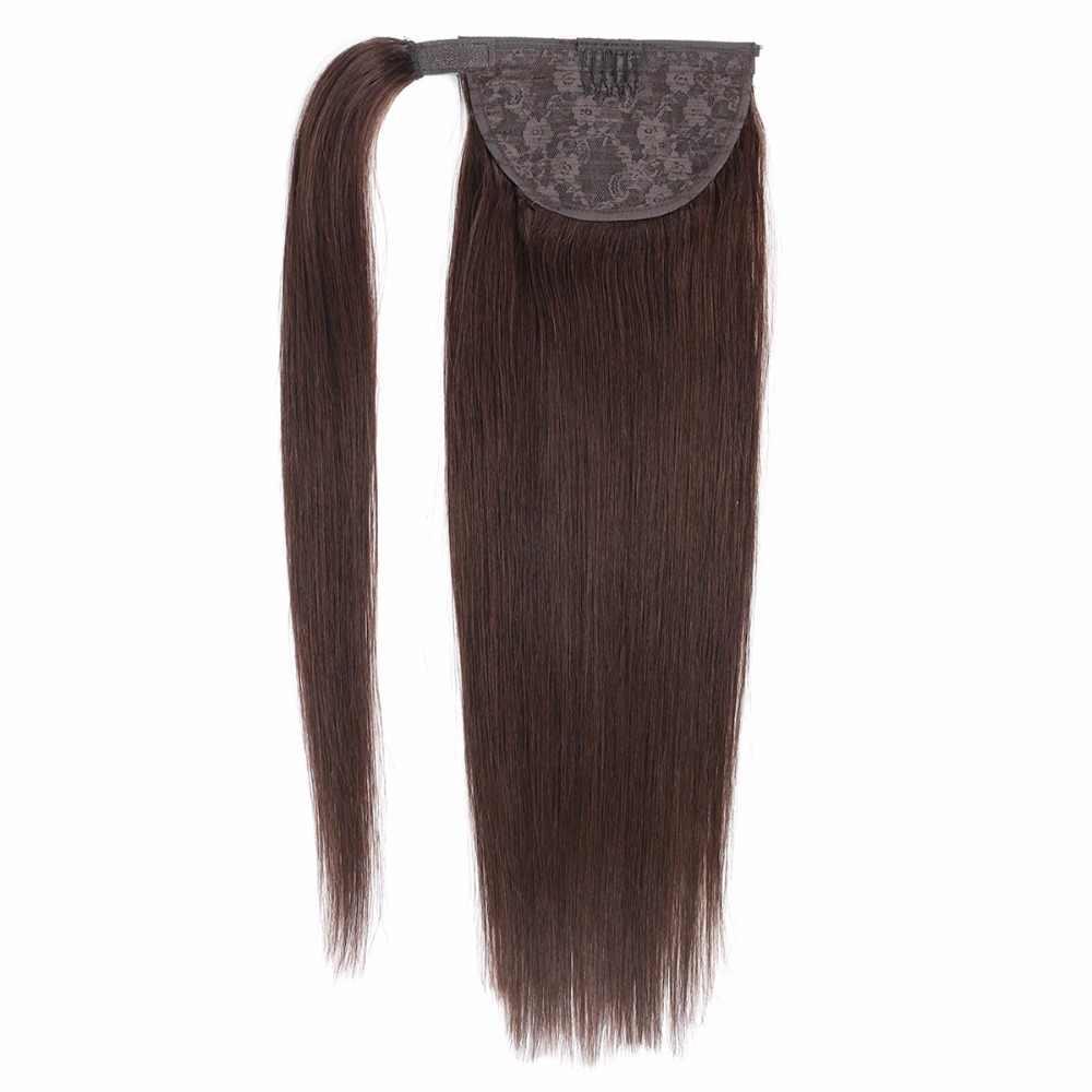 BHF 100% pelo humano Cola de Caballo brasileño Remy Cola de Caballo envolver alrededor de la peluca de cola de caballo 60g 100g 120g peluches naturales colas rectas