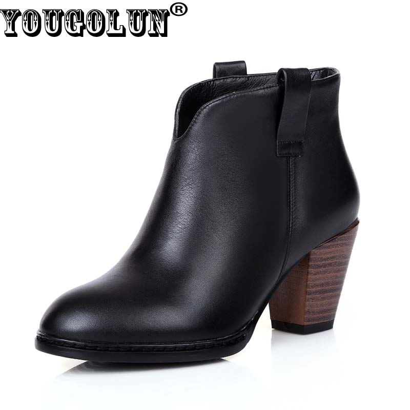 YOUGOLUN Women Ankle Boots Genuine Leather Soft 2017 Autumn Square Heel 7 cm High Heels Black