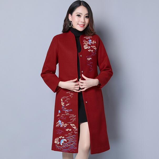 4xl Chaud 3xl Vintage Broderie Laine Vêtements Manteau La Dc353 Taille Femmes Cardigan Élégant Veste Plus Grand Long Femelle xRSYP
