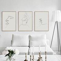 Handpainted Picasso Basit Çizgi Eğri Siyah Beyaz Soyut Resim Öpücük Sanat Boyama Posteri Tuval Boyama Kombine Ev Dekor