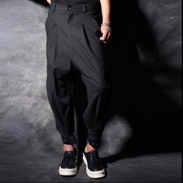 27-44 Novos Homens maré calças maré personalidade hairstylist calças saia calças mais calças tamanho harém rabanete palco cantora trajes