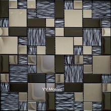 Stainless Metal Grey Crystal Glass Mosaic Kitchen Backsplash TV Background  Wall Tile