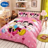 Pink Disney Cartoon Mickey and Minnie Mouse 3D Bedding Sets for Girls Home Decor Cotton Bed Cover Comforter Single Twin Queen