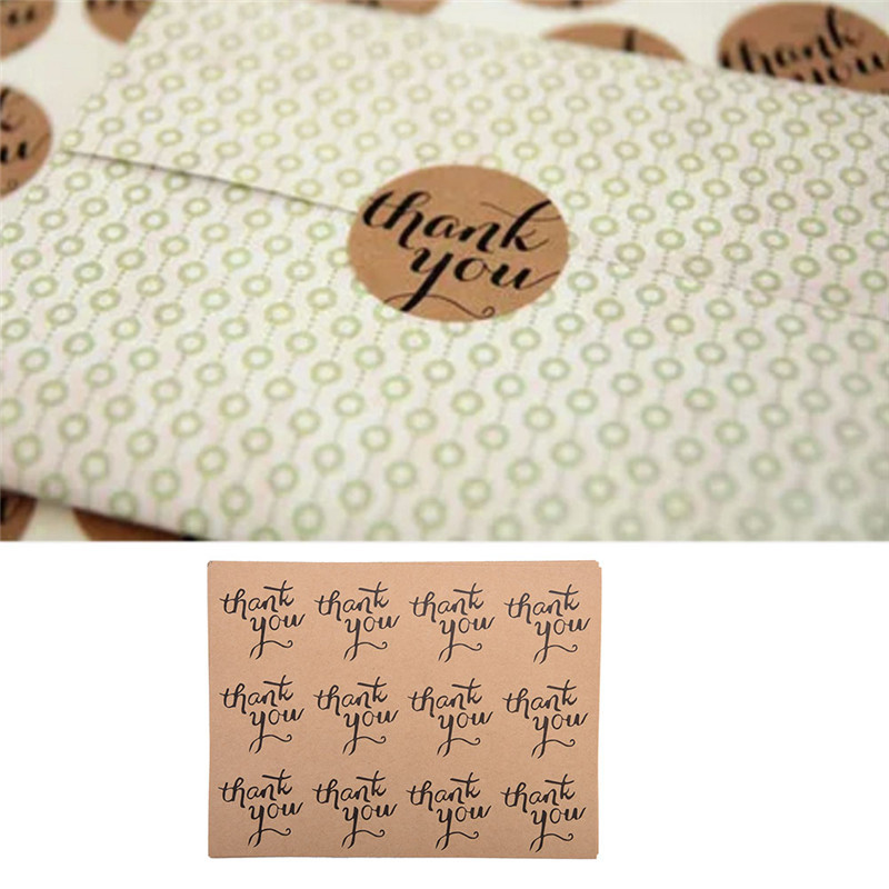 25pcs Round and Ellipse Shape Thank You Adhesive Stickers Kraft Paper Labels