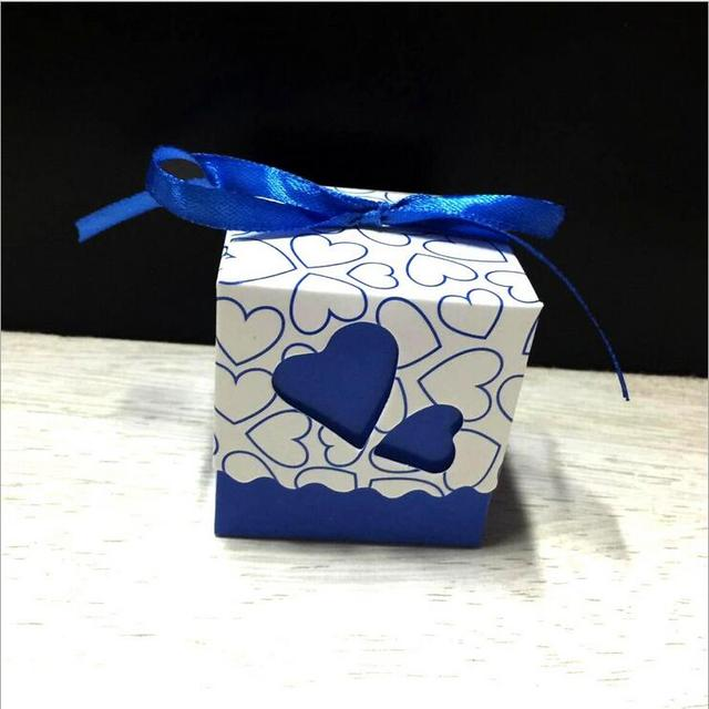 100pcs Royal Blue Wedding Candy Box Sweet Heart Favors And Gifts Souvenirs Decoration