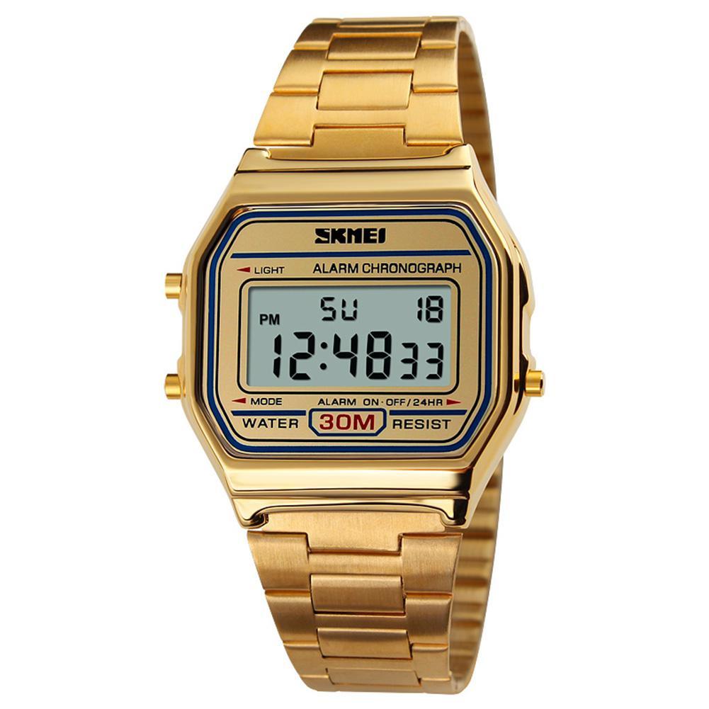 LinTimes Moda Casual Relógio Do Esporte Dos Homens Cinta de Aço Inoxidável Display LED Relógios 3Bar Relógio Digitais À Prova D' Água reloj hombre