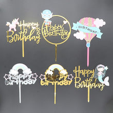 Gold Unicorn Acrylic Cake Topper Flamingo Happy Birthday Cupcake Topper For Baby Shower Mermaid Unicorn Party Cake Decorations(China)