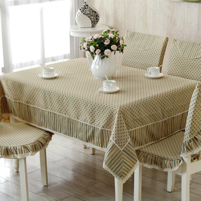 New Style Tablecloths 60 X 60 Inches Elegant Lace And Stripes Wave Point  Stitching Tablecloth Round