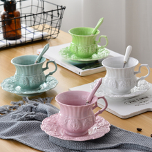 XING KILO Office cute creative color Korean coffee cup and saucer European small luxury girl heart small fairy cup and saucer