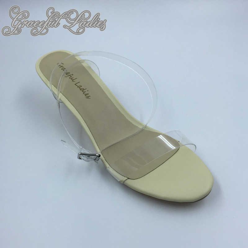 39e84aeafee ... Cheap Transparent PVC Low Heel Women Sandals Cheap Celebrity Kim  Kardashian Plastic Ankle Strap Sandal Plus ...