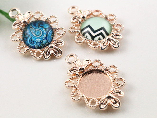 16pcs 12mm Inner Size Rose Gold Plated Fashion Flower Style Cabochon Base Cameo Setting Charms Pendant (A1-40)