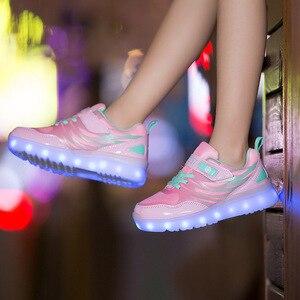 Image 2 - Größe 25 37 Kinder LED Sneaker Jungen Schuhe USB Lade Kinder Schuhe mit Licht up Luminous Mädchen Glowing Turnschuhe schule Schuhe