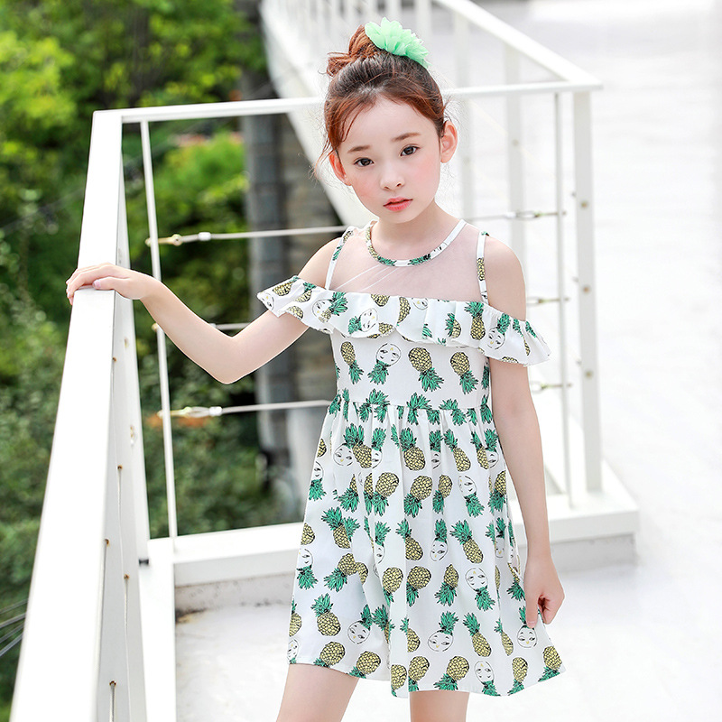 2018 New Summer Baby Ruffles Dress Girls  Dress Kids Strapless Dress Toddler Clothes Children Cotton Dress,2535 2017 summer girls clothes blue stripe dress for girls kids ruffles dress headband korean children dress new cotton kids wear