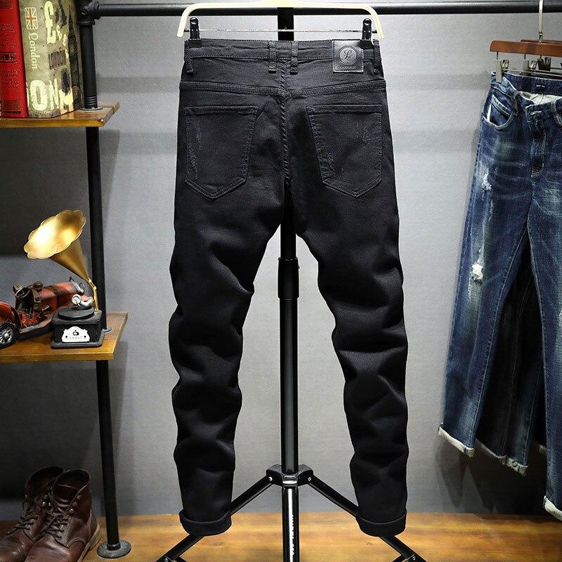 b5433eb389 2018 New Black Ripped Jeans Men With Holes Denim Super Skinny Famous  Designer Brand Slim Fit Jean Pants ...