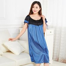 Women Sleepwear Women's Solid Color Stain Slip Short Sleeve Round Neck Mid-Calf Nightgowns Sleepshirts Silk Nightgowns Women