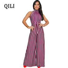QILI Women Wide Leg Jumpsuits Striped Print Sleeveless Jumpsuit Sexy Backless Bow Casual Fashion Loose Red Blue Black