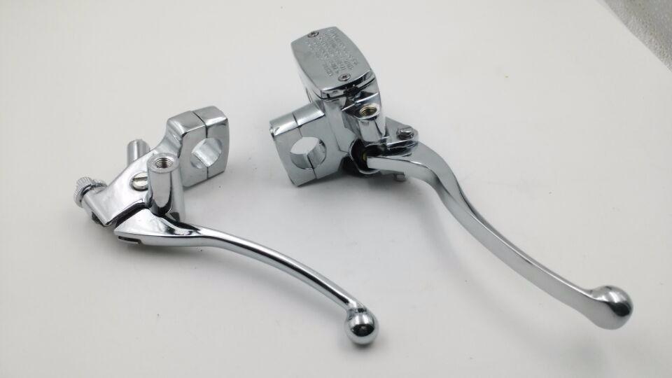 Pair Chrome Custom 7 8 22mm Motorcycle Handlebar Brake Clutch Master Cylinder Levers