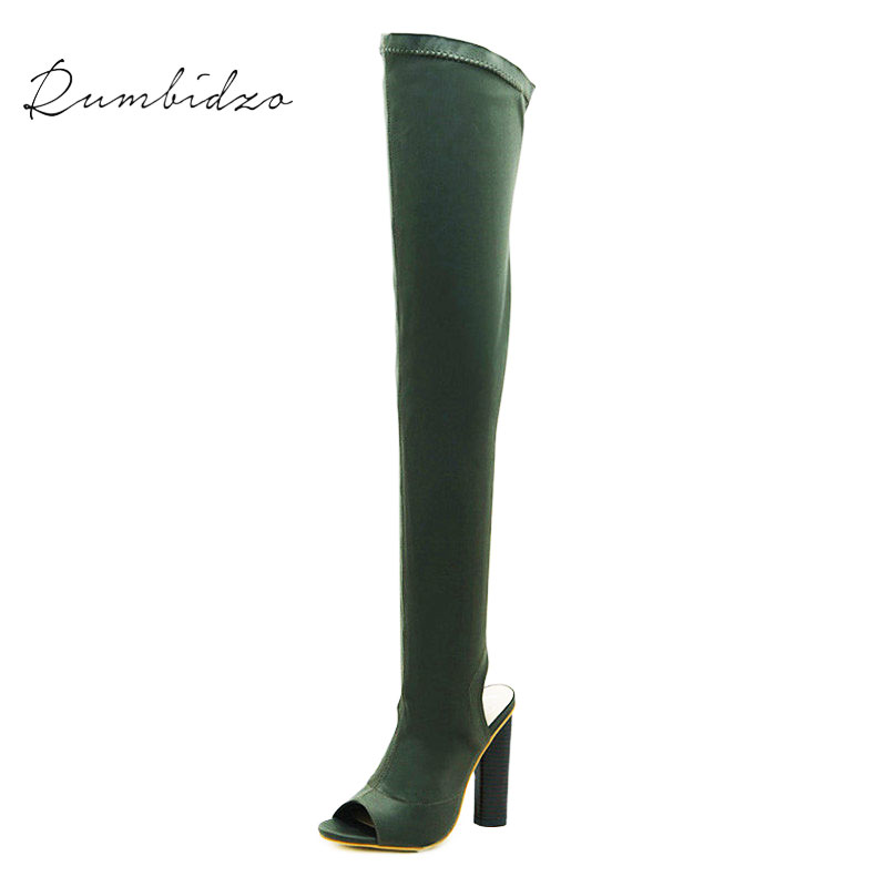 Rumbidzo 2018 Summer Boots Over the Knee Boots Women Shoes Spring Summer Long Boots Thigh High Botas Woman Bootie Sapatos rumbidzo women boots 2018 fashion woman shoes round toe lace up flat heel winter snow boots women bootie warm botas sapatos