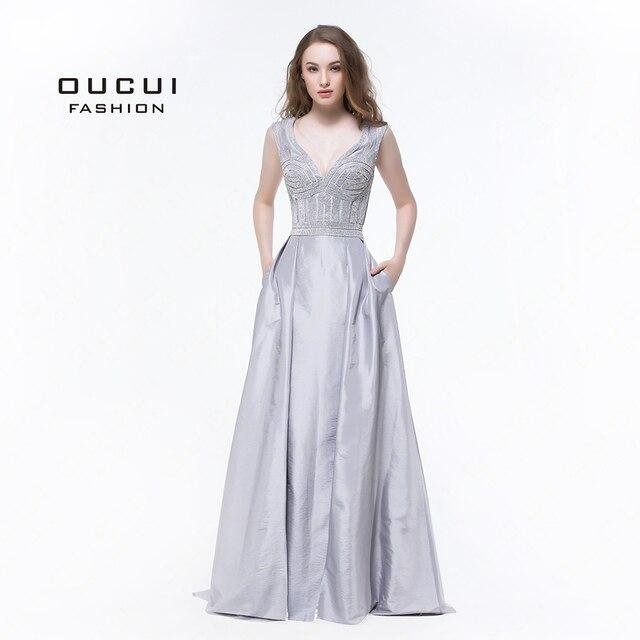 Real Photos Sliver Color Long Evening Dresses Prom Dress OL102929 New Deep V  Ball Gown handwork pockets ee39ddc14446