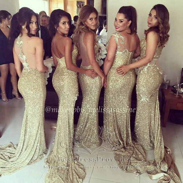 Sexy 2017 Mermaid Sweetheart Gold Squins Slit Sparkle Long Bridesmaid  Dresses Wedding Party Dresses 74cd82c5c4a6
