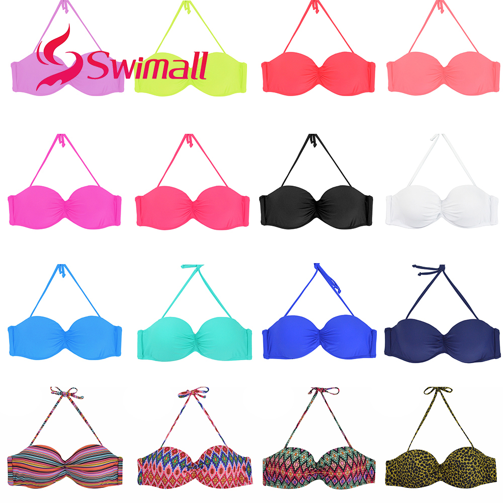 Solid Color Women  Bikini Top Swimwear Print Push Up Swimsuit Sexy Beach Sport Swimming Bra Halter Girls Summer Biquini T601