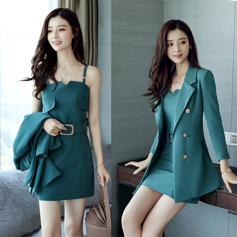 Women Sets 2018 New Arrival Fashion Autumn Suits Sexy Business Suits Above Knee Mini Dress Full Sleeve Casual Coat Two Pieces