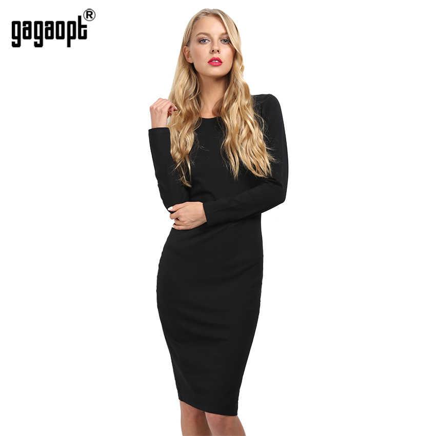 4f791c50b1006c5 Gagaopt 2017 хлопок осеннее платье черный лонгслив карандаш офисное платье  женское облегающее платье зимние Вечерние платья