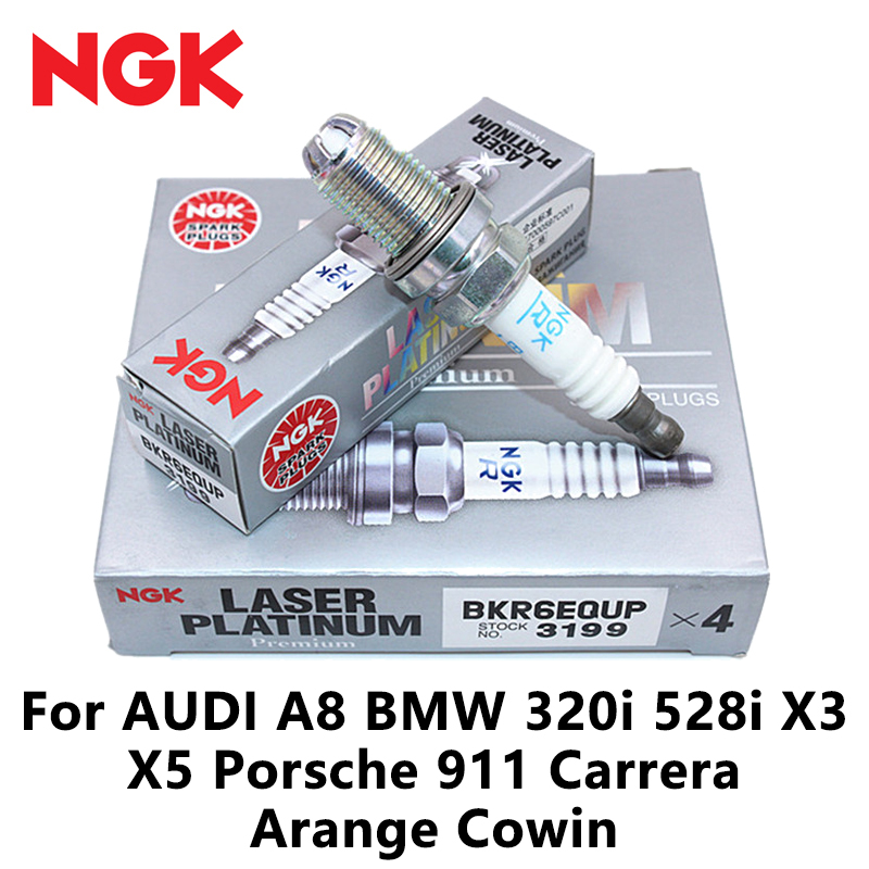 NGK Spark Plug Laser Platinum Resistor 3199 Set Of 6 BKR6EQUP Made In Japan