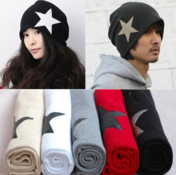 2015 Hot Sale!! Unisex Men's Crochet Star Beanie Hat Skull Cap Ski Knit Winter Women Hats Black/Red for Xmas a2 hot sale unisex winter plicate baggy beanie knit crochet ski hat cap