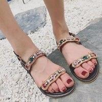 2017 Women S Summer Diamond Flat Shoes Ankle Strap Silver Gold Summer Flat Sandals Sandales Boheme
