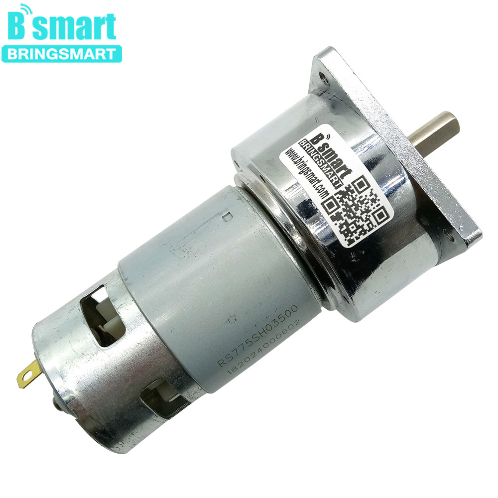 Bringsmart 35W 775 Gear Motor 12V DC Mini Electric Machine 24V Reducer 80kg.cm Large Torque 5rpm~500rpm DC Variable-speed Motor zga37ree 37mm miniature dc gear motor adjustable speed motor reversing 12v 24v 5rpm 350rpm