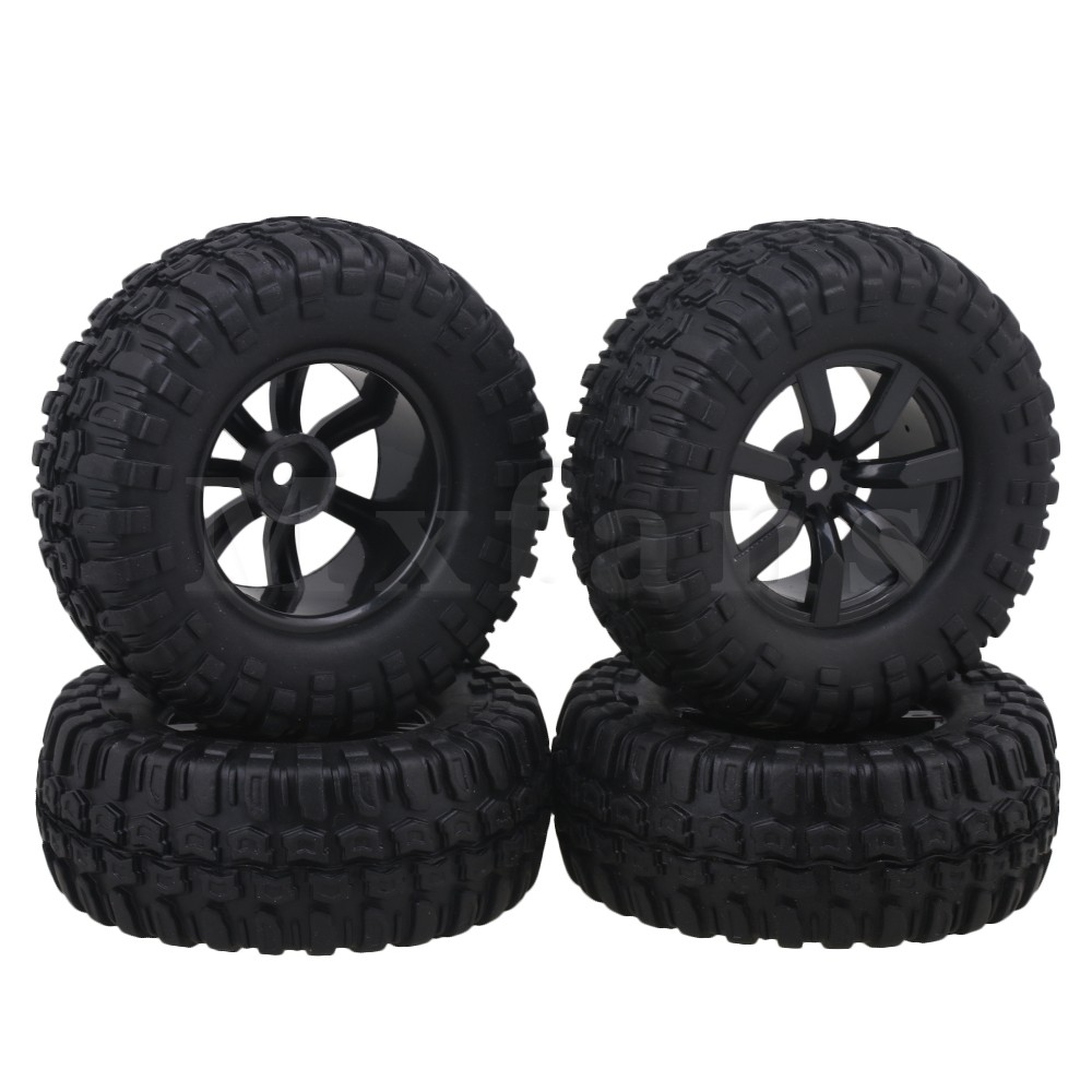 Mxfans Black 96mm OD Square Pattern Rubber Tyres 7 Spoke Plastic 1 9 inch Wheel Rims
