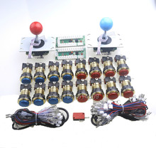 New Reann Arcade DIY Kits Parts 16pcs/lot LED Gold Push Buttons & 5 Pin 8 Way Arcade Joysticks & USB PC Encoders MAME Multicade