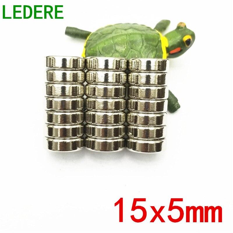 все цены на LEDERE Free Shipping 10/20pcs 15mm x 5mm 15x5 cylinder Neodymium Permanent super Magnet 15*5 15x5mm 15*5mm 15x5 mm онлайн