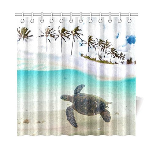 Aplysia Hawaiian Green Sea Turtle Polyester Fabric Bathroom Shower Curtain Set With Hooks 72 X