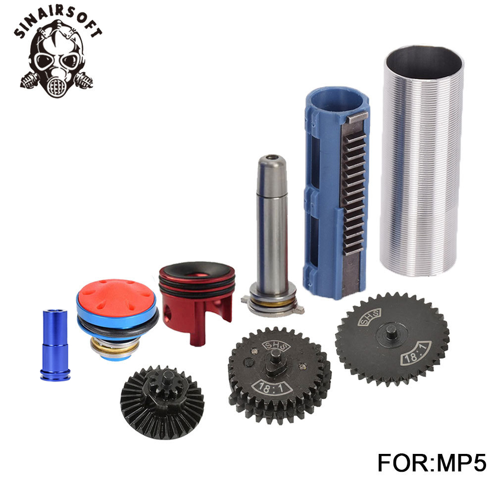SHS 18:1 Gear Nozzle Cylinder Spring Guide 14 Teeth Piston Kit Fit Airsoft MP5 AK M4 M16 G36 For Paintball Hunting Accessories