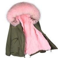 Brand 2018 women winter coat parkas army green large raccoon fur collar detachable real rabbit fur liner casual outwear