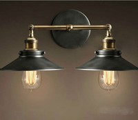 Modern retro attic metal double head wall lamp retro brass wall lamp country style E27 Edison wall lamp
